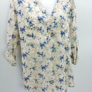 Eden Olivia blouse XL floral popover NWT cotton